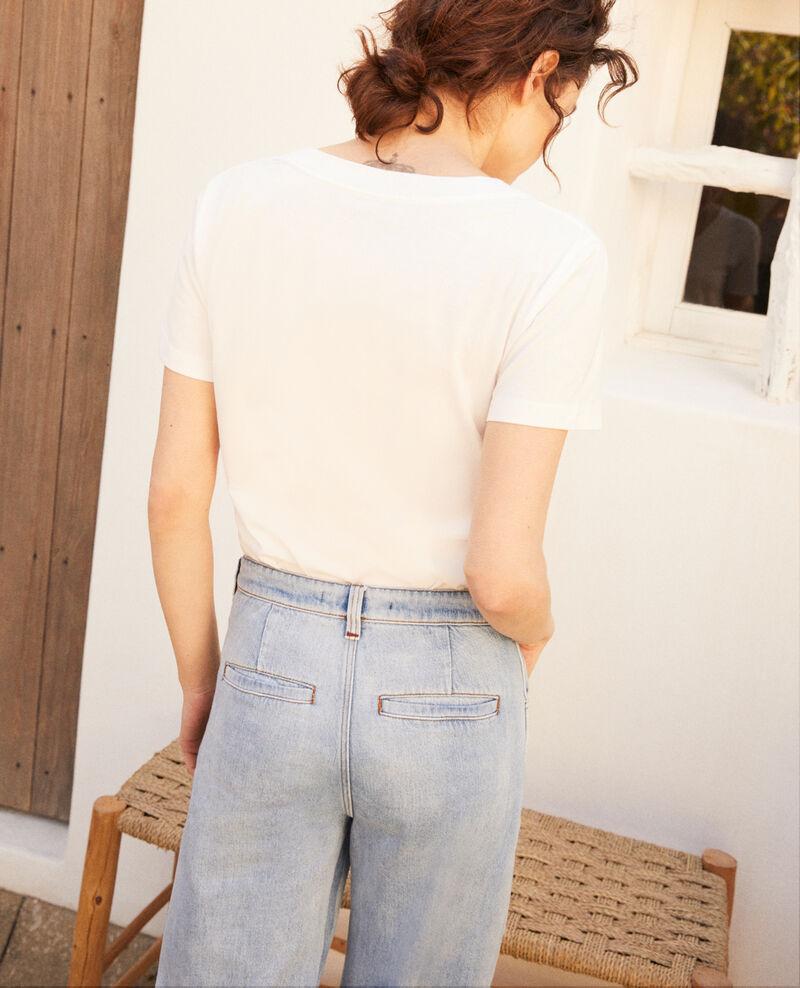 Clover-shaped heart print t-shirt Off white Itrefle