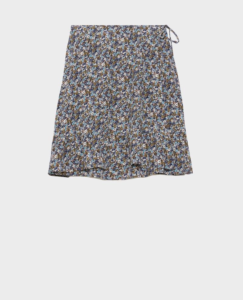 Silk wrap mini skirt Liberty green Palongue