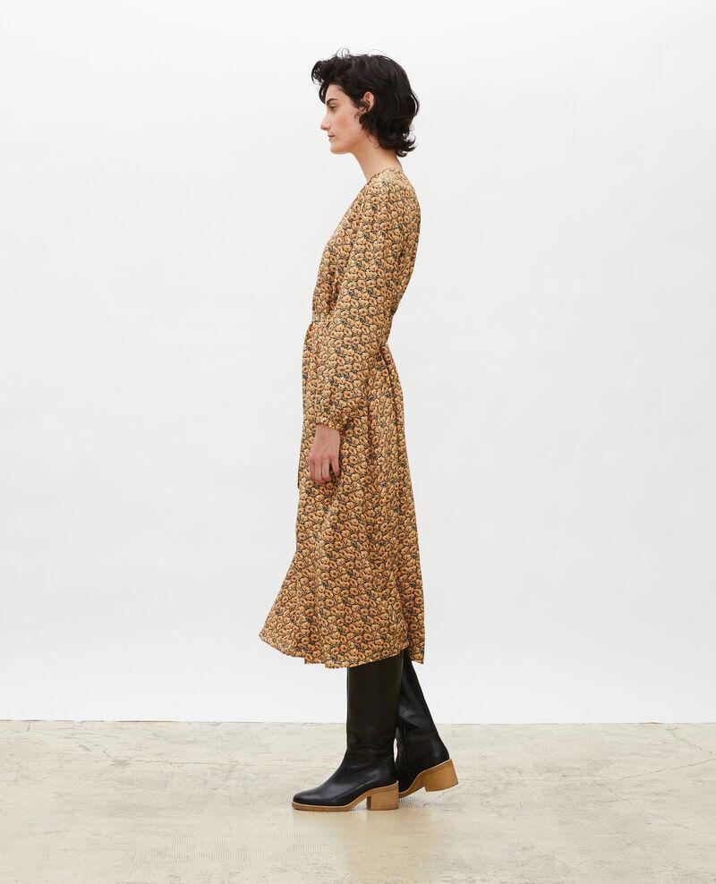 V-neck silk maxi dress with belt Print artdeco lemoncurry Marieuxa