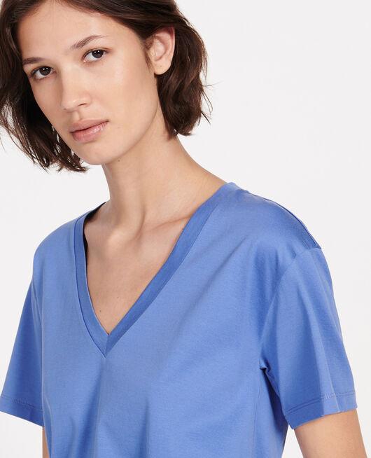 V-neck cotton t-shirt AMPARO BLUE