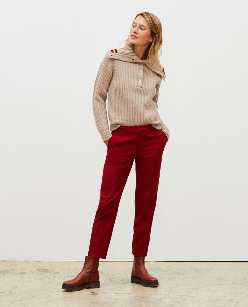 Wool half-neck jumper with a wide collar Latte Marsani