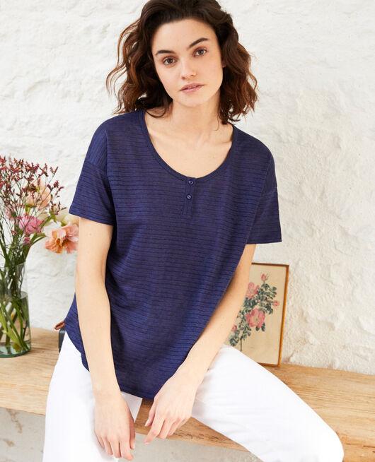 Linen-blend shiny T-shirt SAPPHIRE NAVY