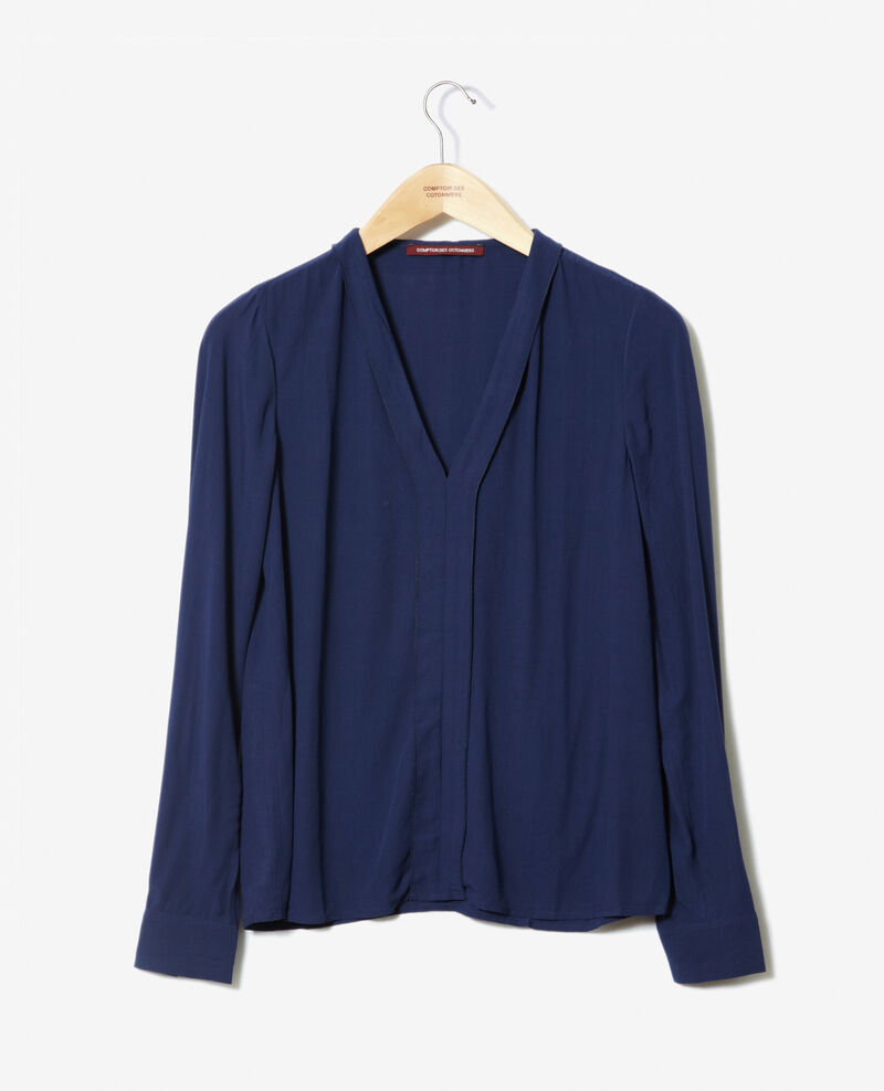 V-neck blouse Medieval blue 9ganet