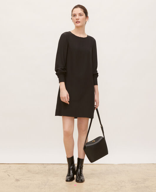 Loose mini silk dress. BLACK BEAUTY