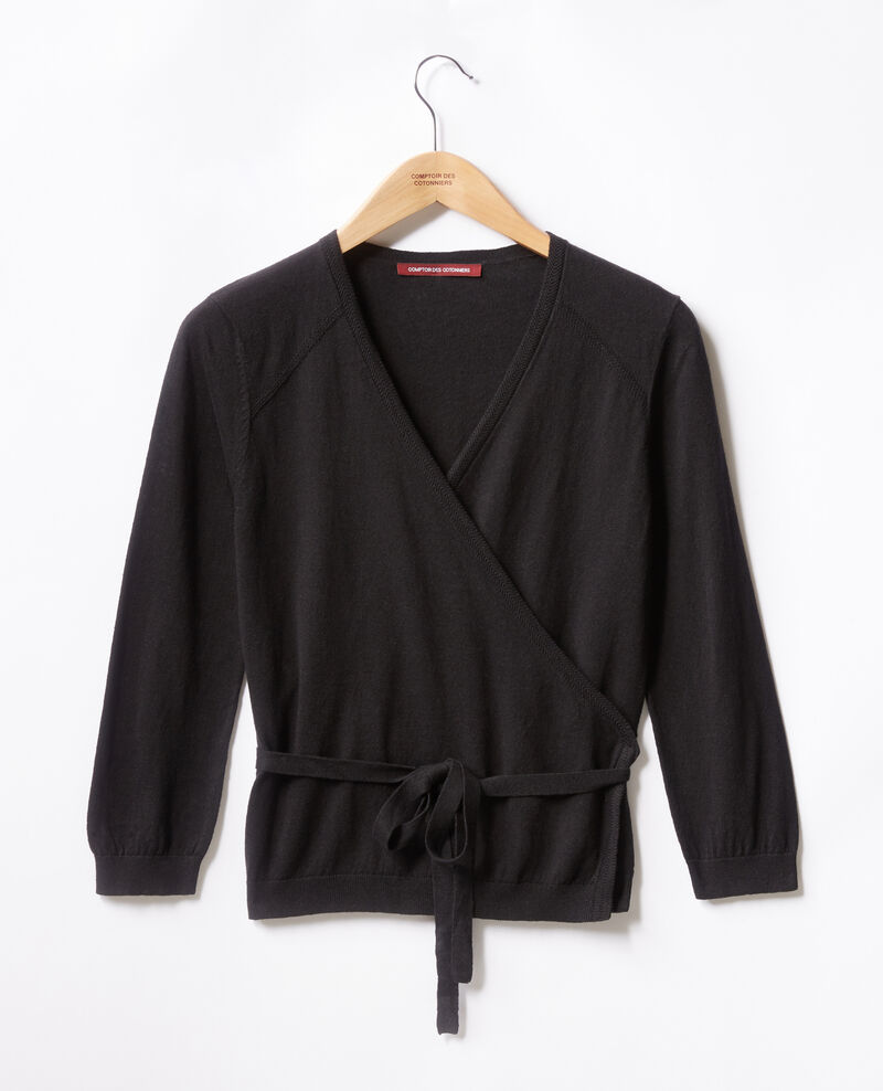 Wrap cardigan with linen Noir Fulaga