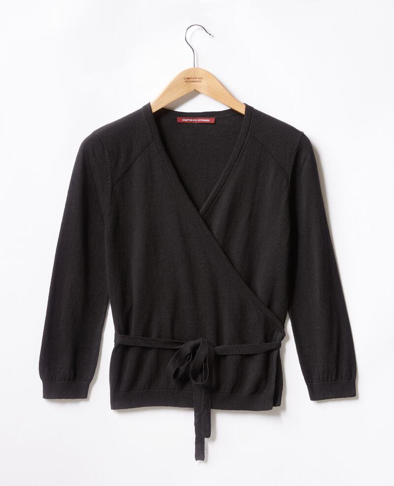 Wrap cardigan with linen Noir Fulaga