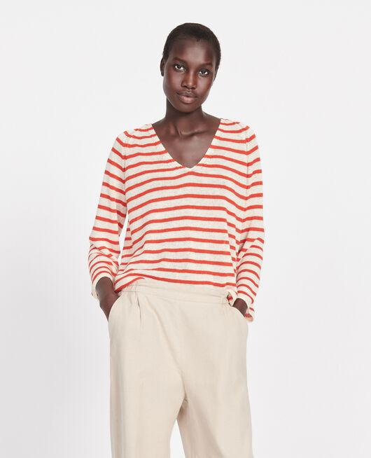 Linen T-shirt STRIPES BUTTERCREAM FIERY RED