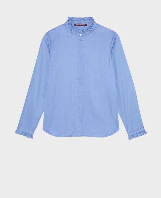Ruffled high collar cotton shirt BLUE AS PROTO