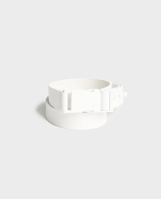 Leather belt OPTICAL WHITE