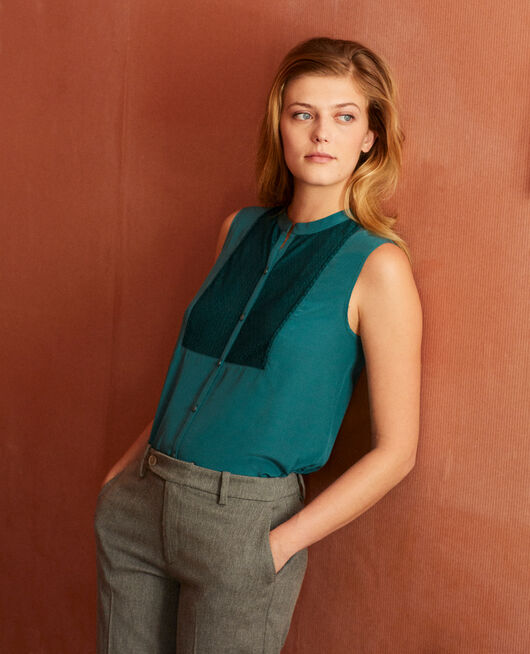 Silk blouse with lace shirt front MEDITERANEA