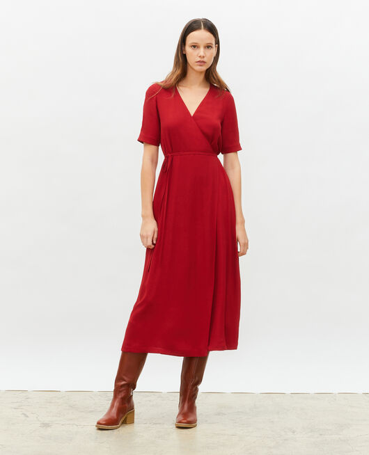 Viscose wrap maxi dress ROYALE RED