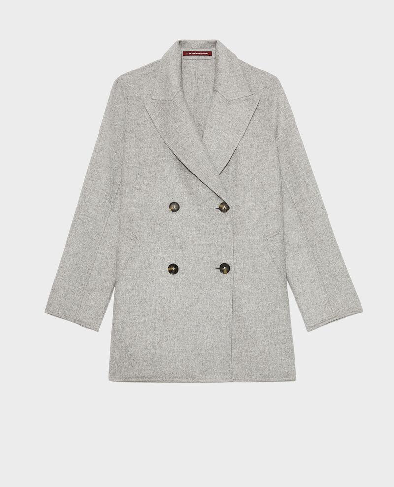 Double-sided wool pea coat Light grey Lintot