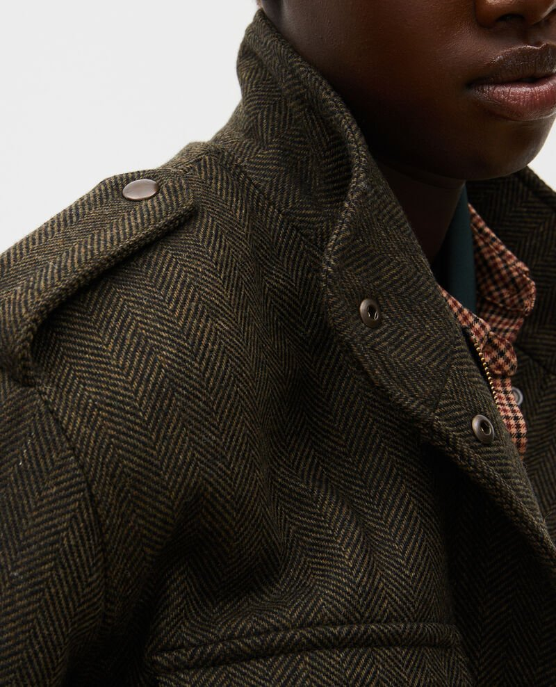 Chevron wool tweed aviator jacket Military green Maucora