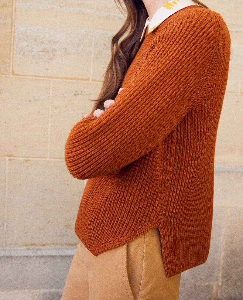 Jumper with inserts on the hem 100% Merino Wool Umber Janet