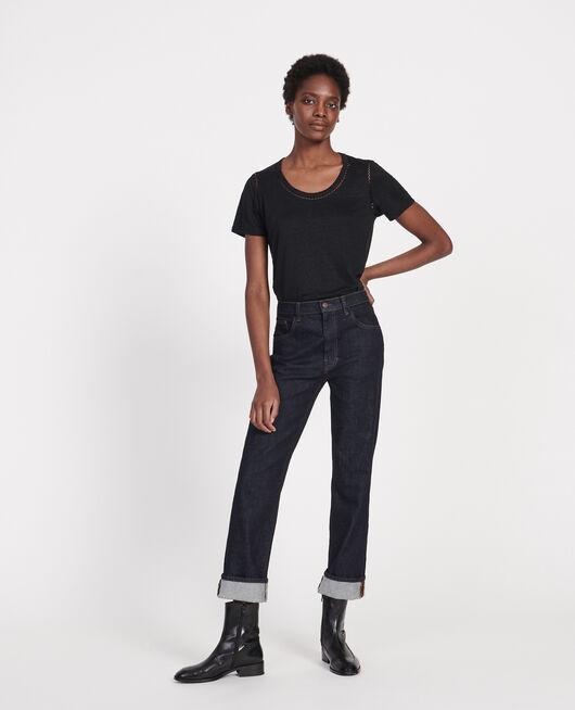 Linen jersey T-shirt BLACK BEAUTY