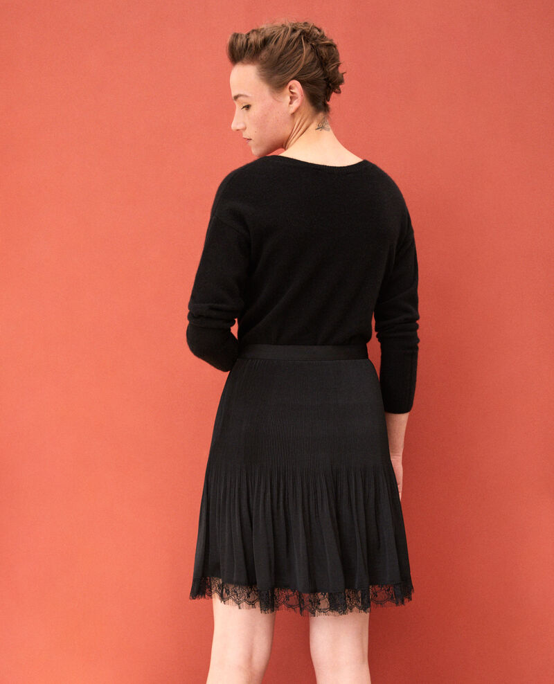 Pleated skirt with lace detail Black Gilipine
