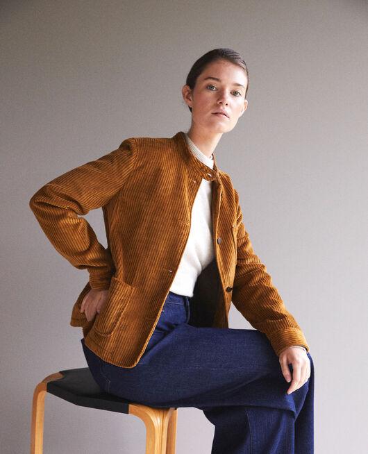 Ribbed corduroy jacket GOLDEN BROWN