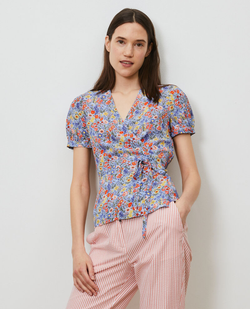 Printed wrap top Prairie blue heron Nachic