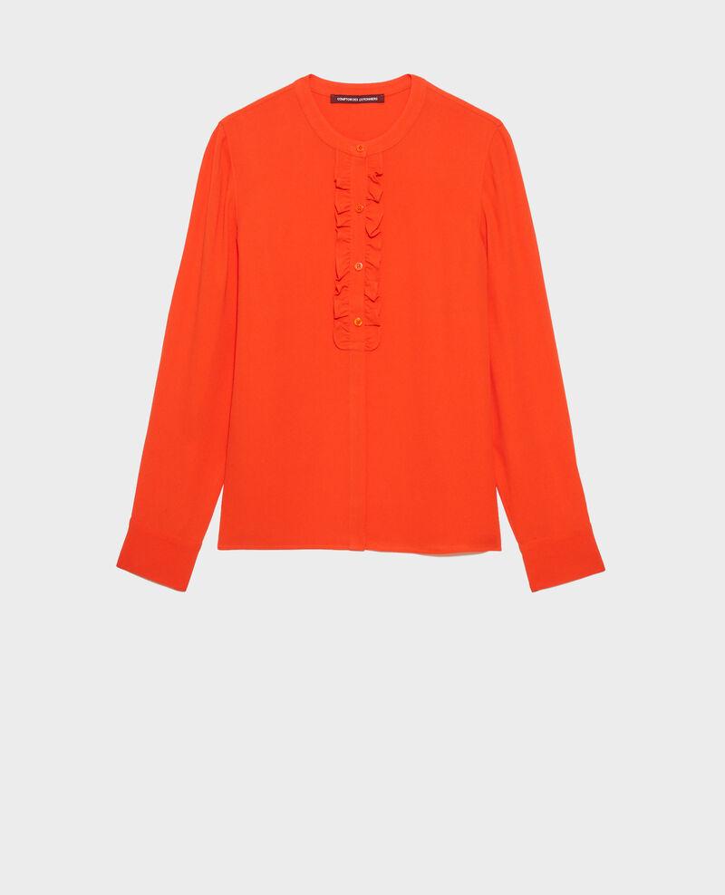 Ruffle front blouse Spicy orange Nemours