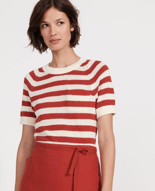 Linen and cotton jumper STRIPES KETCHUP BUTTERCREAM