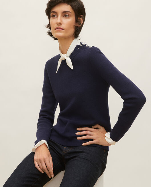 Striped wool jumper MARITIME BLUE