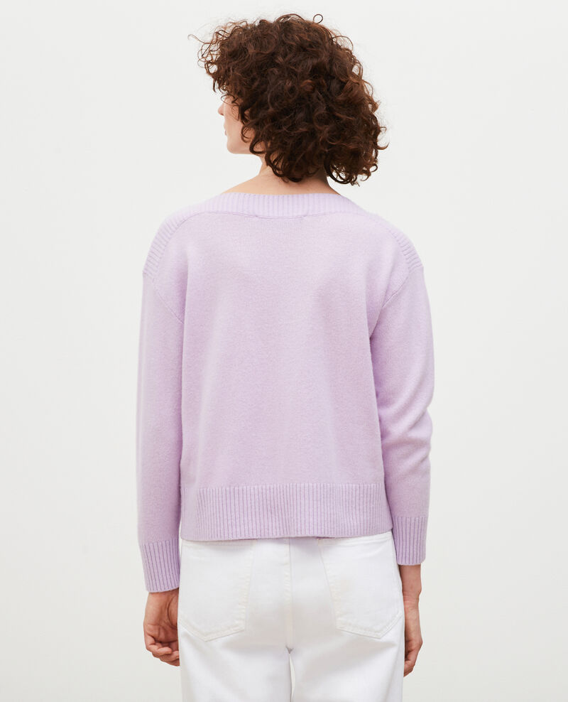 Cashmere boatneck jumper Pastel lilac Matelot