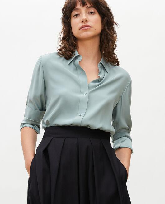 Long-sleeve silk men's shirt CHINOIS GREEN