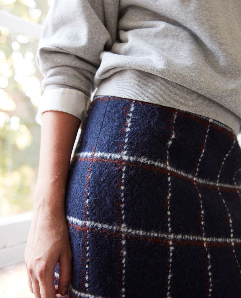 Straight skirt Navy checks Jarnou