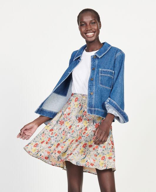 Floral silk flared mini skirt PRINT EDEN CREAM