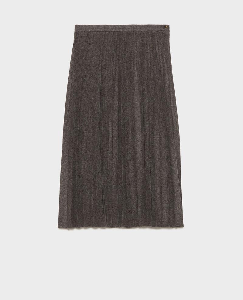 Pleated wool skirt Medium grey melange Mareille