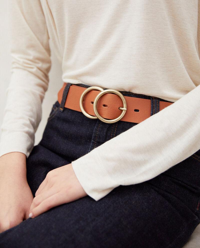 Twin buckle leather belt Camel Idoublo