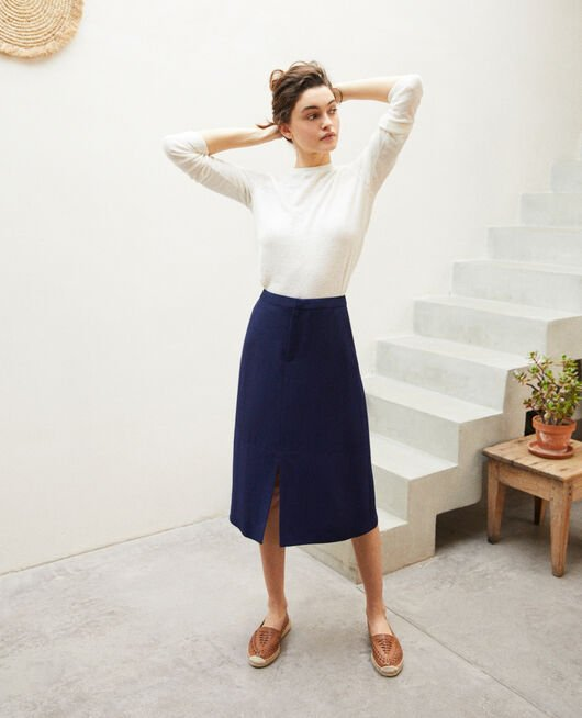 Skirt with slit INK NAVY