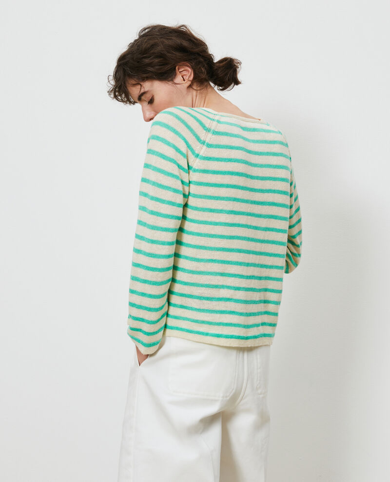 Striped linen jumper Stp cream jade Logron