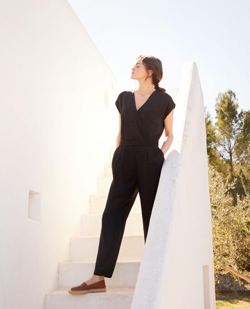 Wrapover jumpsuit Noir Iqueli
