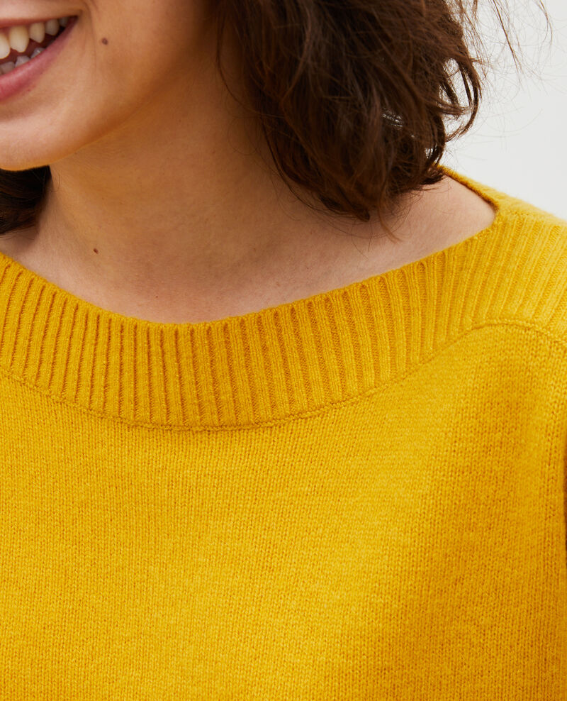 Cashmere boatneck jumper Lemon curry Matelot