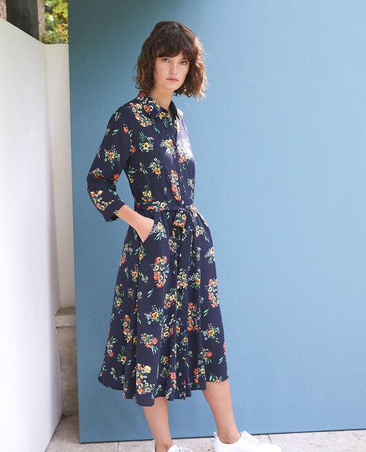 Mid-length dress FLEURS NAVY
