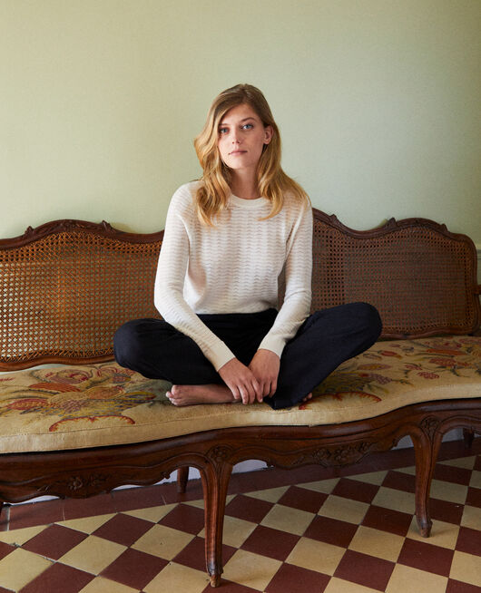 Novelty knit jumper 100% Merino Wool OFF WHITE