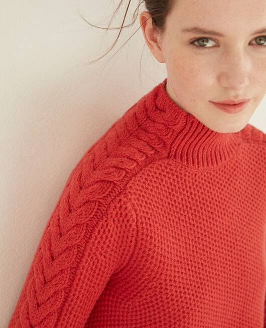 Wool jumper with braid detail Red