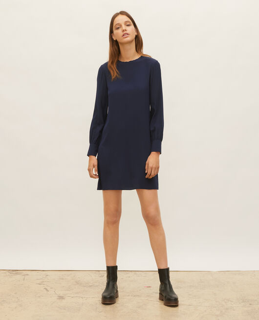Loose mini silk dress. MARITIME BLUE