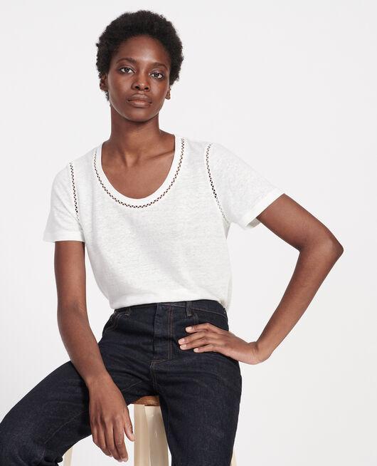 Linen jersey T-shirt GARDENIA