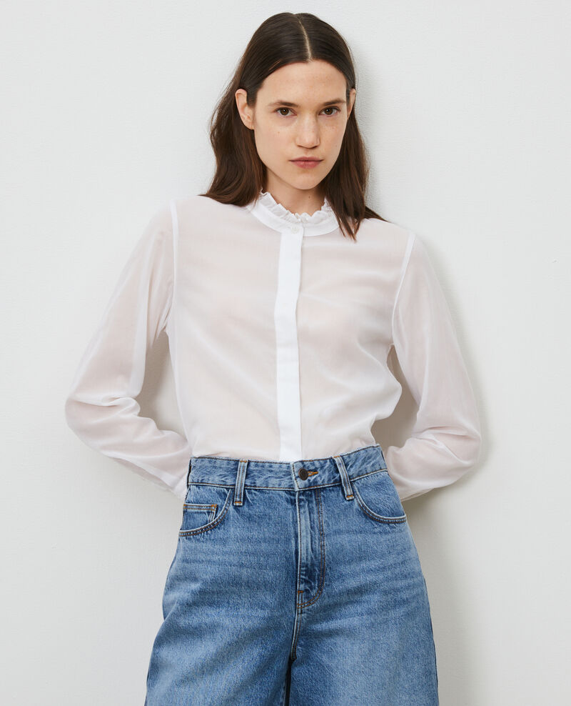 Ruffle neck shirt Brilliant white Nacelle