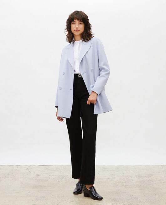 Double-sided wool pea coat HEATHER