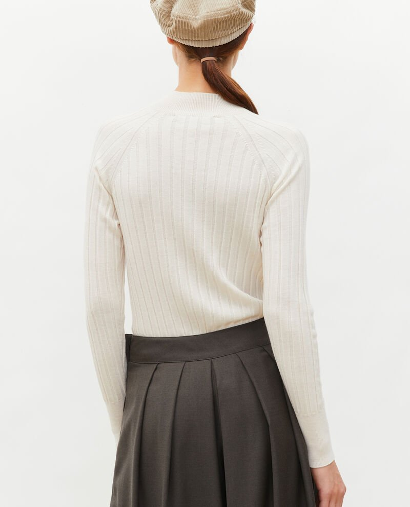 Ribbed merino wool turtleneck jumper Jet stream Mulie