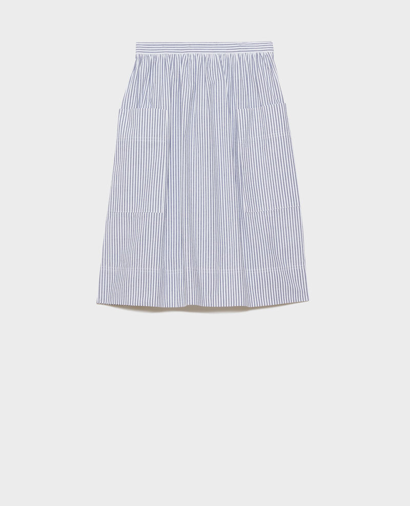 Cotton seersucker midi skirt Str navy Nebaral