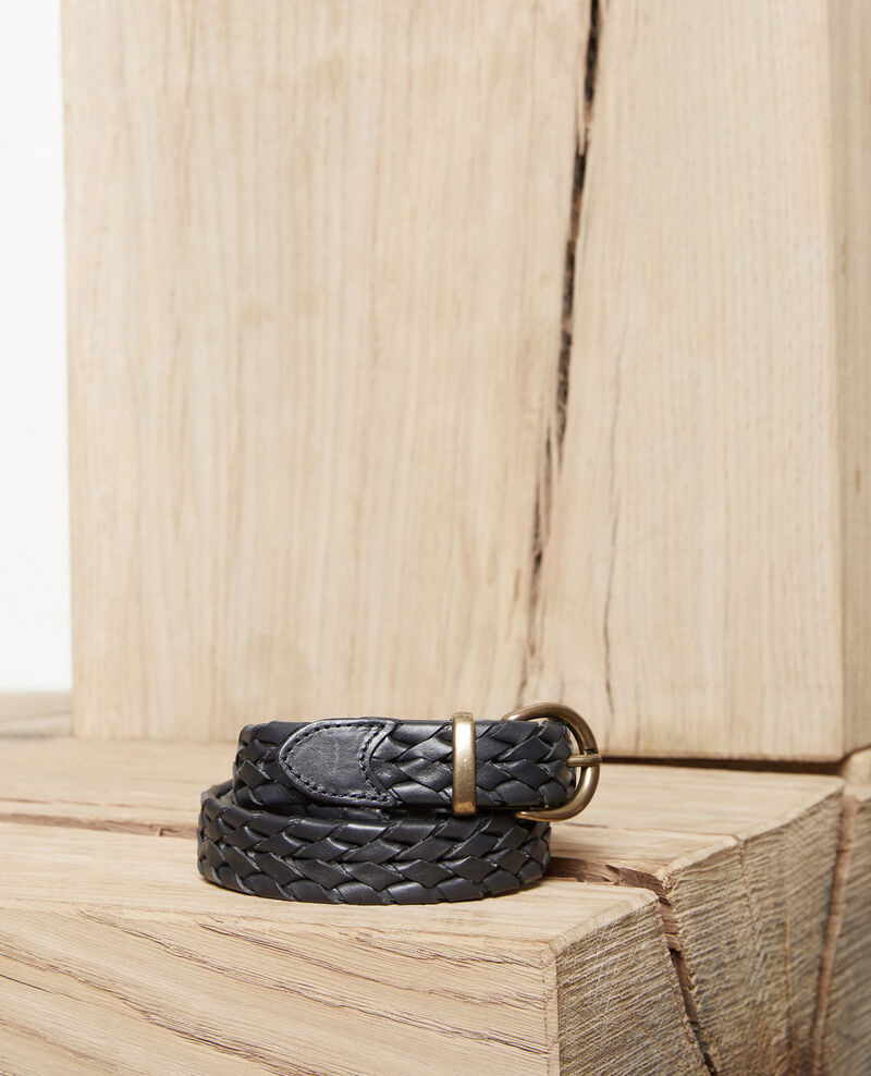 Braided leather belt Dark navy Jessai
