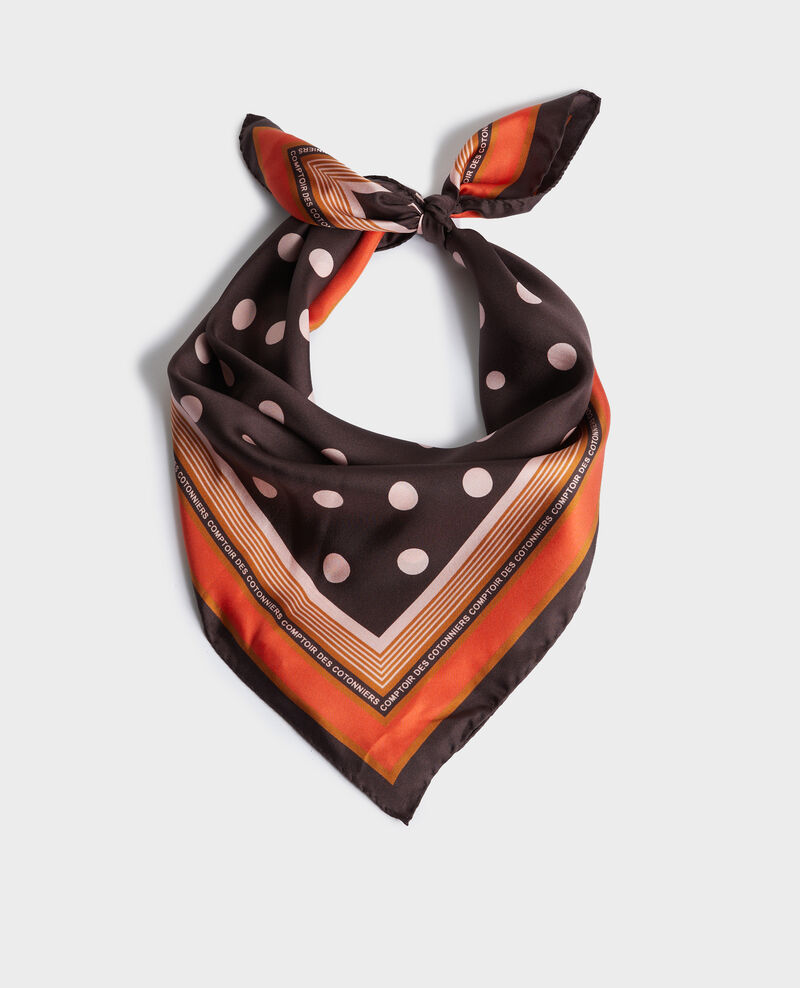Polka dot square silk foulard Black coffee Nois