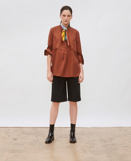 Oversize cotton shirt with bib front TORTOISE SHELL