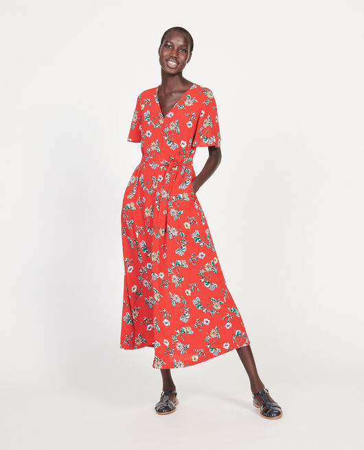 Viscose crêpe maxi dress HERBIER FIERY RED HAZE