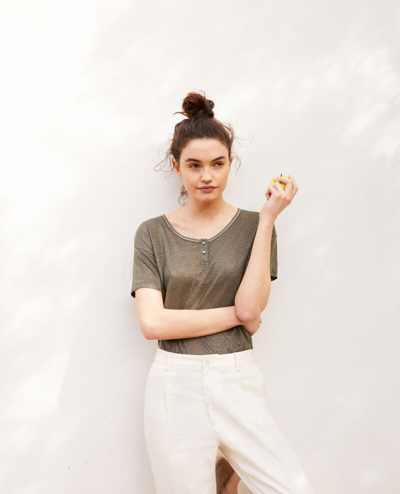 Shiny linen t-shirt Military green Imapou