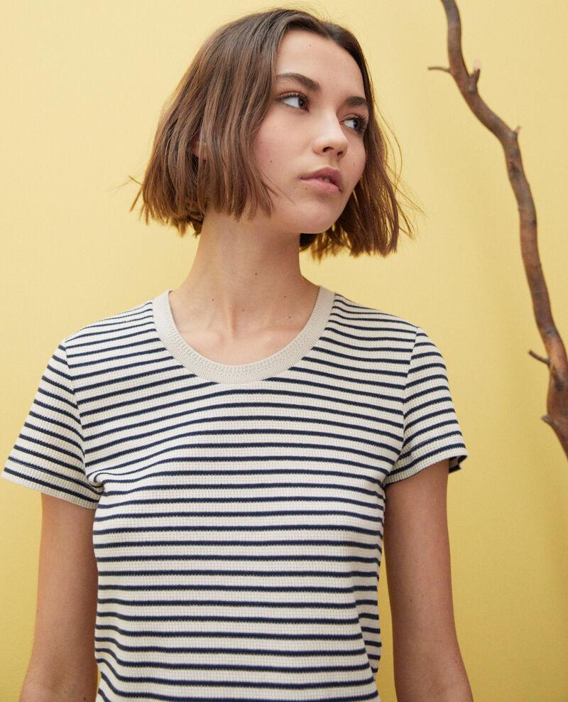 Striped T-shirt Beige/navy Ivea